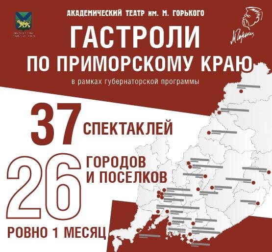 Впервые! Театр имени М. Горького отправляется в такие масштабные гастроли по Приморскому краю!